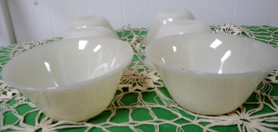 Fire King Oven Glass Ivory Custard Cups. Set of 6