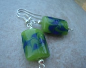 Blue, Green and Silver Bead Earring Set (N-102)