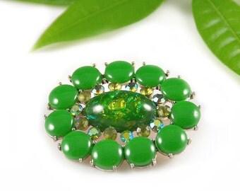 Green Rhinestone Pin Confetti Foil AB Aurora Borealis Oval Grass Green Vintage - W2718
