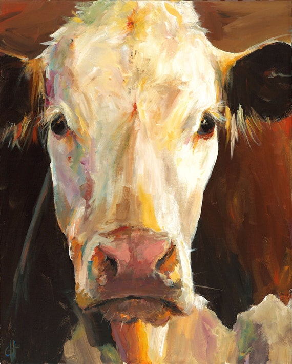 cow print gladys paper print of an original painting by