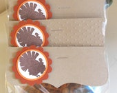 Thanksgiving favor tags, Thanksgiving favor toppers, Turkey favor tags, Turkey favor toppers, Holiday Tags - Set of 12