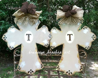 Vintage Inspired Cross Door Hanger - Bronwyn Hanahan Art