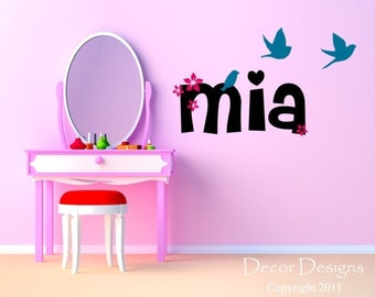 Girls Custom Name Wall Decal - birds decal wall decal flying birds decal Flower decal flower name decal nursery decals playroom decals name