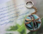 Mint Chocolate Chip Swirl Dragonfly Key Chain Czech Glass