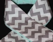 Camera Strap Slipcover Slip Cover Grey and White Chevron with Mint Minky  Free Lens Cap Pocket