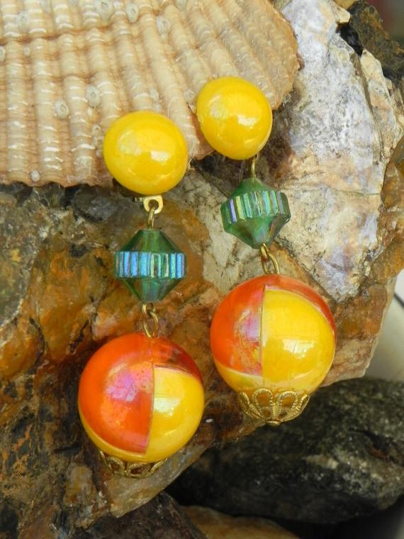Mod 1960's Orange Yellow Earrings