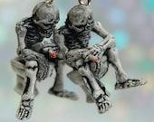 Skeleton Blunt Smoking Toilet Skull Horror Halloween Macabre Kandi Raver Rave Harajuku Fairy Kei Bones Burning Man Cosplay Weird Jewelry