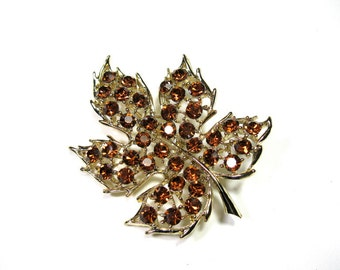 Autumn Rhinestone Brooch, 1960's Vintage Style Rhinestone Leaf Brooch, Antique Jewelry, Gift Ideas for Gardeners, Woodland Accessories