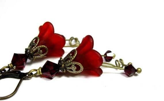 Garnet Red Flower Earrings Swarovski Crystal Fashion Jewelry Crimson Dangle Earrings Gifts for Her Romantic Scarlet Floral Jewellery Marsala