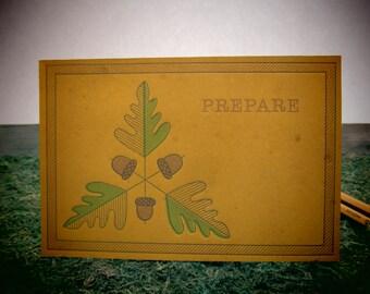 Acorn & Oak Leaf Leather Letterpress Postcard