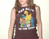 Sesame Street DIY Raised on the Street Tank Top Shredded T shirt Medium