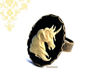 Unicorn Cameo Ring. Adjustable Ring. Ivory and Black. Mythical Horse. Novelty Ring