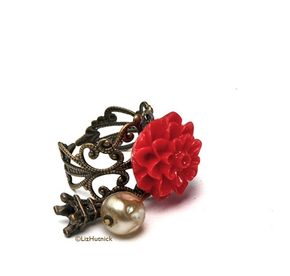 30% OFF Sale - Use coupon code FBS30 - Red Mum Ring with Eiffel Tower. Paris Flower Ring. Adjustable Ring