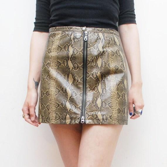 Snakeskin leather HARLEY DAVIDSON mini skirt. biker skirt - xs, small