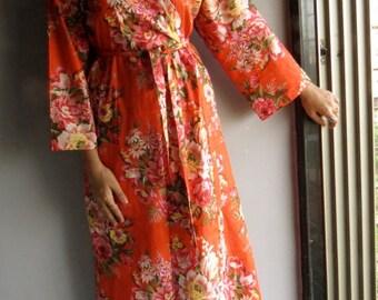 Ankle length Kimono Robe - Orange Floral Crossover Robe..getting ready robe, bridal robe..make lovely pre-wedding photos..wedding favors