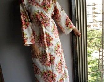 Ankle length White Kimono Robe - Floral Crossover Robe..getting ready robe, bridal robe..make lovely pre-wedding photos..wedding favors