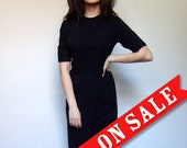 Black Wiggle Dress Office Fashion Vintage 1960s 60s Dress Fitted LBD Mad Men 3/4 Sleeve Hourglass - Medium. Large. M/ L