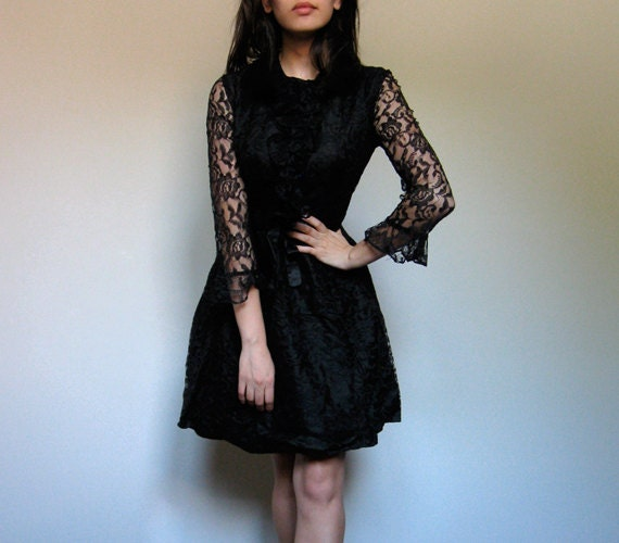 Black Lace Dress Mini Long Sleeved See Through Party Dress Ruffle Cocktail M
