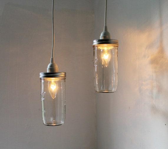 Stargaze Mason Jar Pendant Lamps - Set of 2 Rustic Hanging Lighting Fixtures - Upcycled Modern Minimalist Country BootsNGus Home Decor