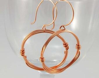 Copper Hoops, Dangle Hoop Earrings, Wire Wrapped Copper Earrings, Bright or Oxidized Copper, Gifts for Women Friends, Gifts for Girlfriend