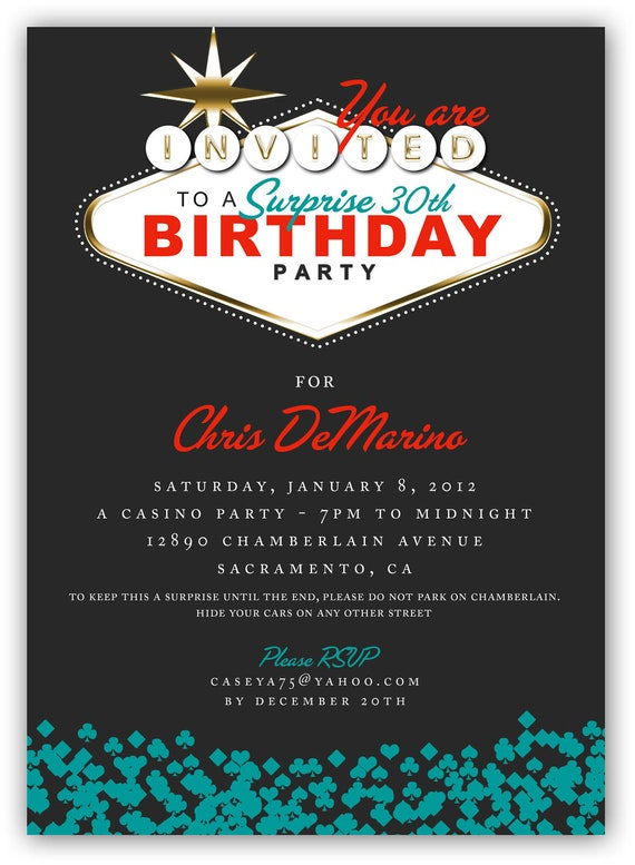 Fabulous Las Vegas Themed Party Invitation 4x6 or 5x7