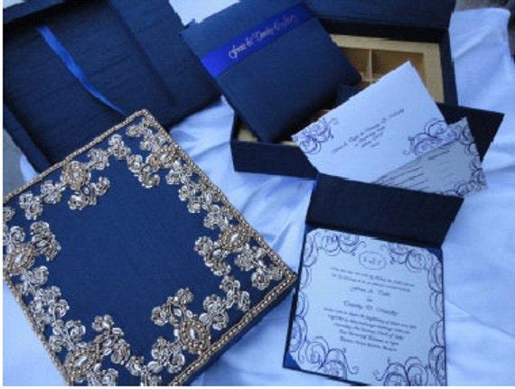Fabric Wedding Invitations: WEDDING FANCY Navy Fabric Invitation Box With Folio For