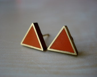 moroccan spice small brass triangle stud earrings
