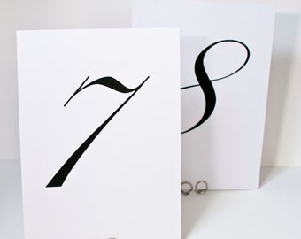 Simple Chic Table Number Cards for Weddings or Special Occasions