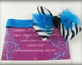Zebra Bow with Turquoise Feather Infant Headband Toddler Headband Picture Headband Teen Headband