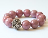 SALE Use COUPON LOVE20 Dusty Rose Tourmaline Stretch Bracelet Oxidized Sterlng Silver Dusty Rose Resort Jewelry