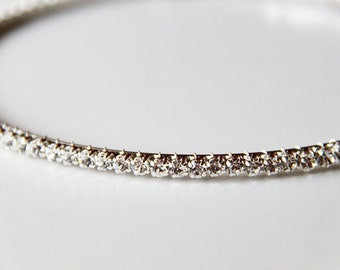 Simply Chic Rhinestones Silver Metal Hairband. Bling. Headband. Sparkles. Prom. Weddings