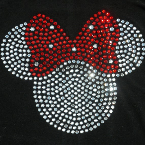 5 inch red Minnie Mouse iron on BLING rhinestone transfer for Disney t shirt or costume WHOLESALE available