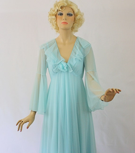 Vintage 60s Peignoir Set  Sheer Double Chiffon Long Blue Nightgown Robe size Medium
