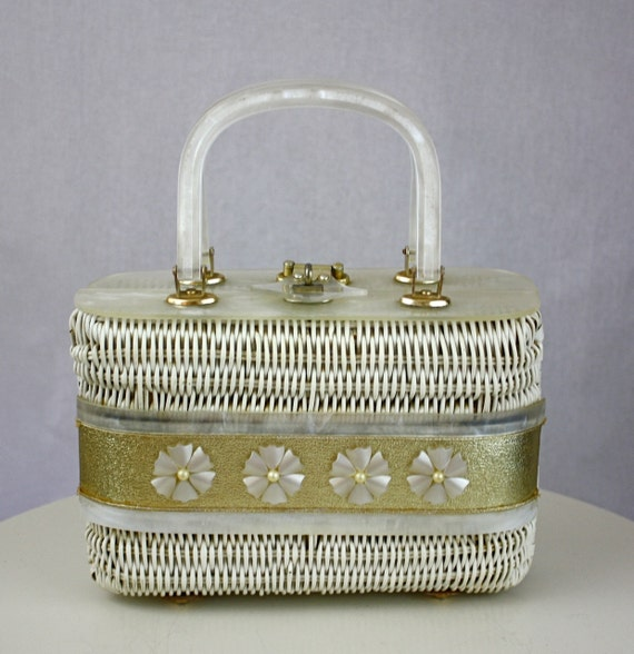 Vintage 50s Box Purse Adele Lucite White Wicker HandBag w Lucite Flowers & Accents
