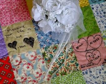 Wedding guest book quilt Patchwork Quilt 27X41 lap size match your wedding colors