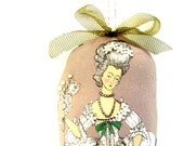 SALE French lady cloth doll ornament Small Stuffed Embellished Doll Ornament