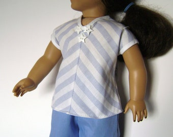 BK Blue and White Diagonal Stripe Blouse with White Trim and Star Buttons - 18 Inch Doll Clothes fits American Girl Dolls