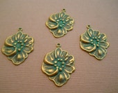 Flower charm in Verdigris finish (1) Item 1830B