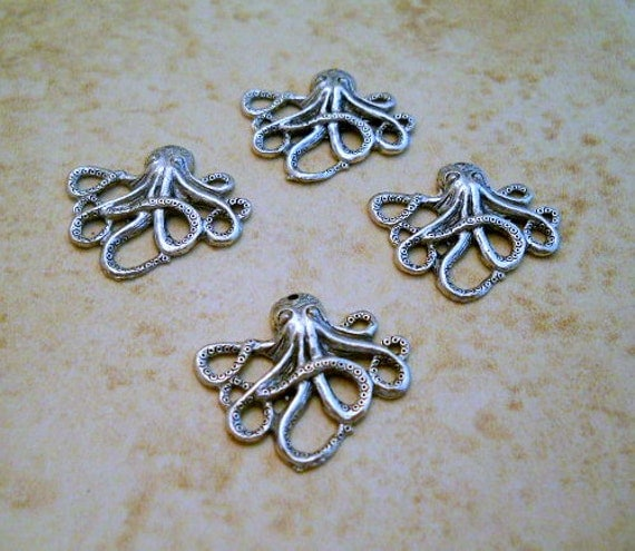 Octopus charm  Sterling plated Steampunk   25x26mm  one charm  Item 1292