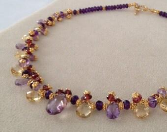 Semiprecious Gemstone Necklace in Gold Vermeil with Ametrine, Amethyst, Citrine and Rhodolite Garnet