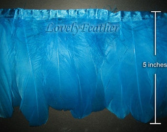 Goose feather fringe of turquoise color 1 feet trim