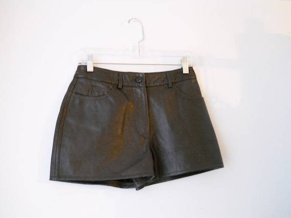 VTG Brown Leather Shorts High Waisted