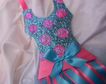 Glitter Tutu Hair Bow Holder Cotton Candy Dots Turquoise and Bubblegum