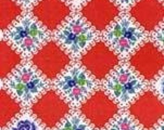 CLEARANCE, Japanese, Lecien, Hua Hua Lu Lu, Scallop Floral Squares in Red, 1/2 Yard