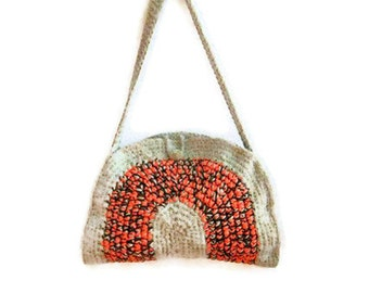 OOAK, Crochet Bag, Clutch, Colorful, Beige, Orange, Harvest, Autumn, OOAK ,   Shabby, Chic, Circle, Stripe