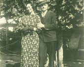 1930s Happy Couple Well Dressed Man Woman Standing Outside Antique Vintage Black and White Photo Photograph