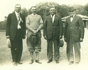 Golfers Golf Man Wearing Knickers and Argyle Socks Golfing Vintage Black White Photo Photograph