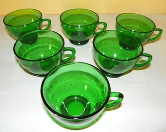 Anchor Hocking Forest Green Punch Bowl Cups, Set of 6  (24 available)