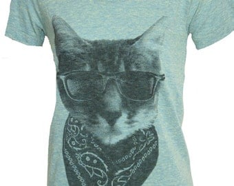 The Gangster Bandit Kitty Cat T-Shirt American Apparel Tri-Blend Ladies   L or XL