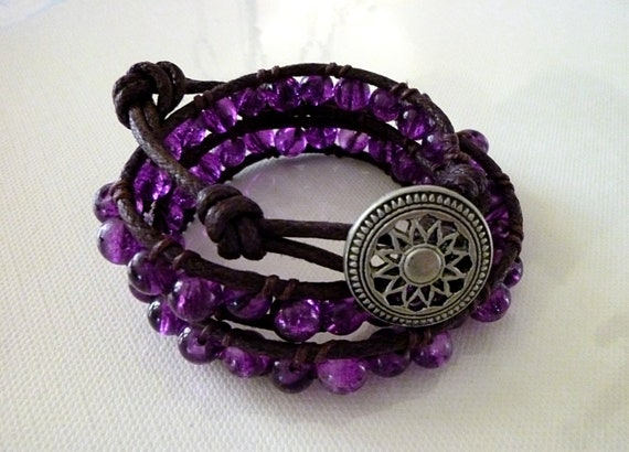 Wrap Bracelet Violet Purple Glass Beads Brown Cotton Faux Leather Stylish Trendy Jewelry, Free Shipping